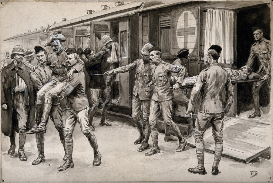 Boer_War;_wounded_soldiers_being_escorted_off_the_hospital_t_Wellcome_V0015554.jpg
