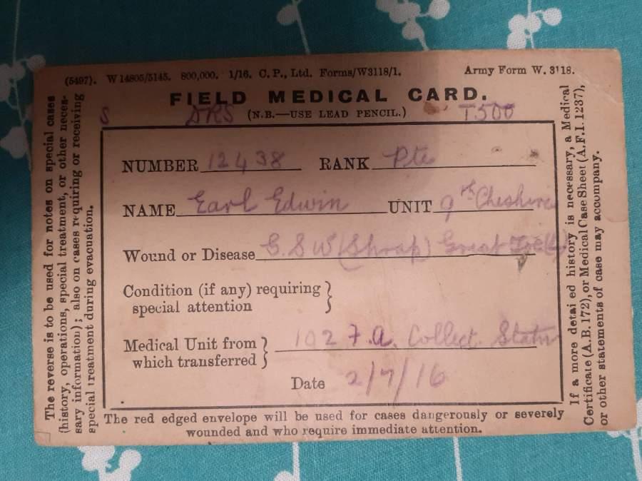 Field Medical Card 1916